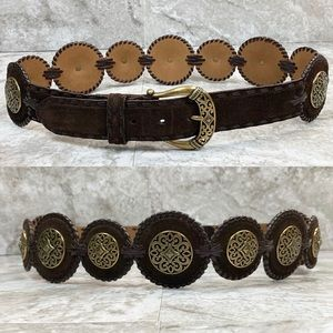 Brighton Brown Concho Western Suede Belt Sz 34